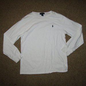 Polo Ralph Lauren XL Kids White Blue Shirt Winter